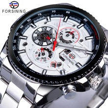 Forsining Top Brand Luxury Date Luminous Hands Complete Calendar Mens Automatic Watches Silver Stainless Steel Strap Wrist Watch недорого