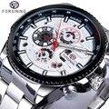 Forsining Top Merk Luxe Datum Lichtgevende Handen Compleet Kalender Mens Automatic Horloges Zilver Roestvrij Stalen Band Polshorloge