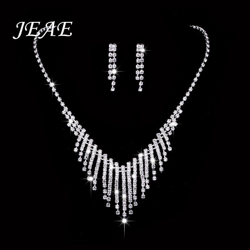 Luxury Zirconia Women Wedding Necklace Bridal Jewelry Sets Brides Jewellery Crystal Rhinestone Silver Earrings Bijoux Mariage in Jewelry Sets from Jewelry Accessories