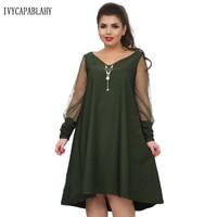 IVYCAPABLAHY 2018 Spring Summer Dress Women Fashion V Neck Long Mesh Sleeve Brand Dress Large Size