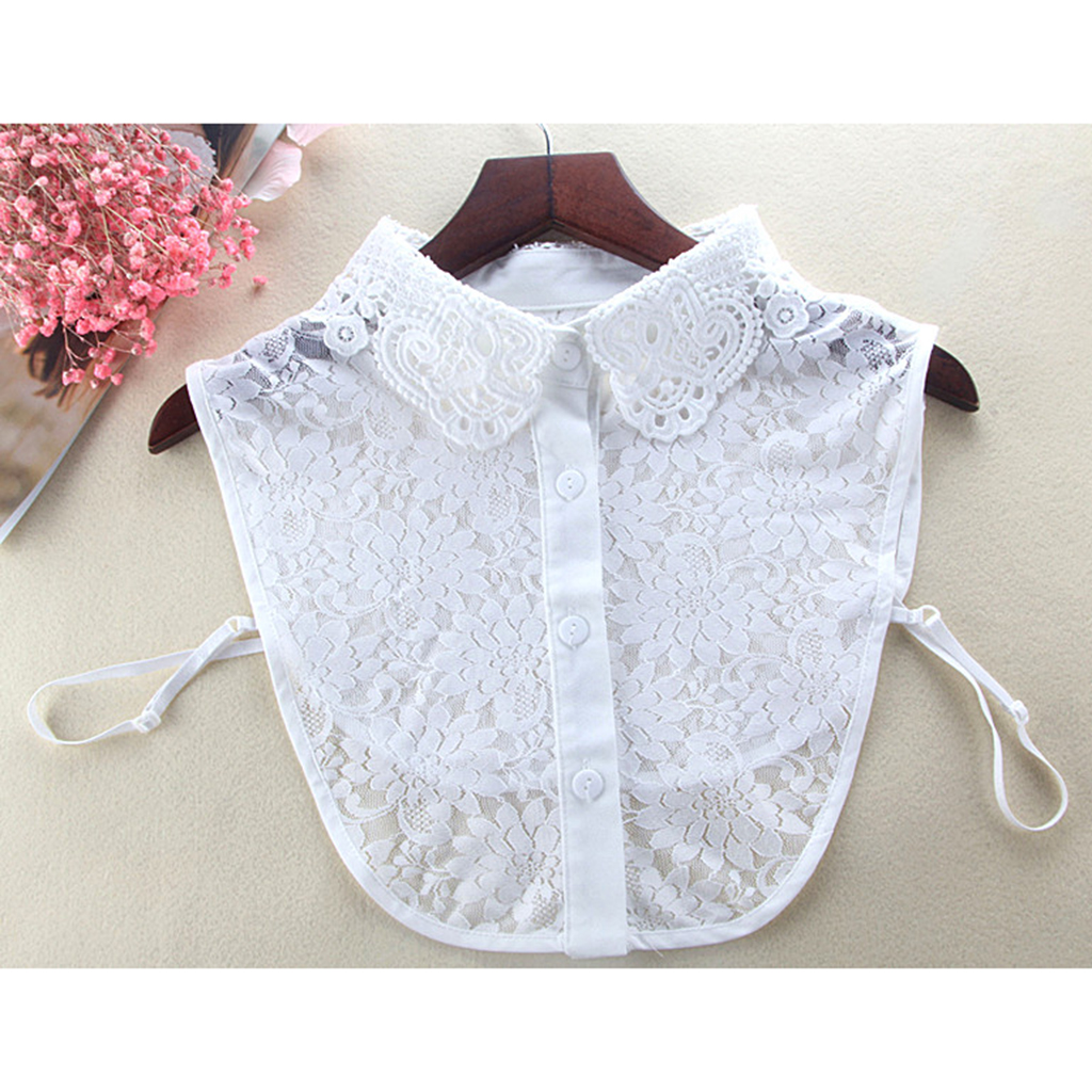 Women Chiffon Embroidered False Collar Woman Half Shirt Blouse Detachable Bib Lace Collar Shirt Fake Collar For Women