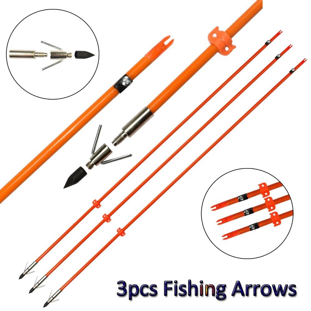 "34/"" Bowfishing Arrows Fish Hunting Fiberglass Shaft Broadhead Tips Safety Slide"