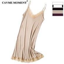 CAVME Summer Sexy Lace Spaghetti Strap Silk Knitting Nightgown Women Ladies Patchwork Sleepwear Elegant Underdress Underskirt