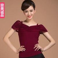 New Fashion Sexy Short Sleeve Modern Latin Dancing Clothing Top For Women Female Girl Dancer Tango