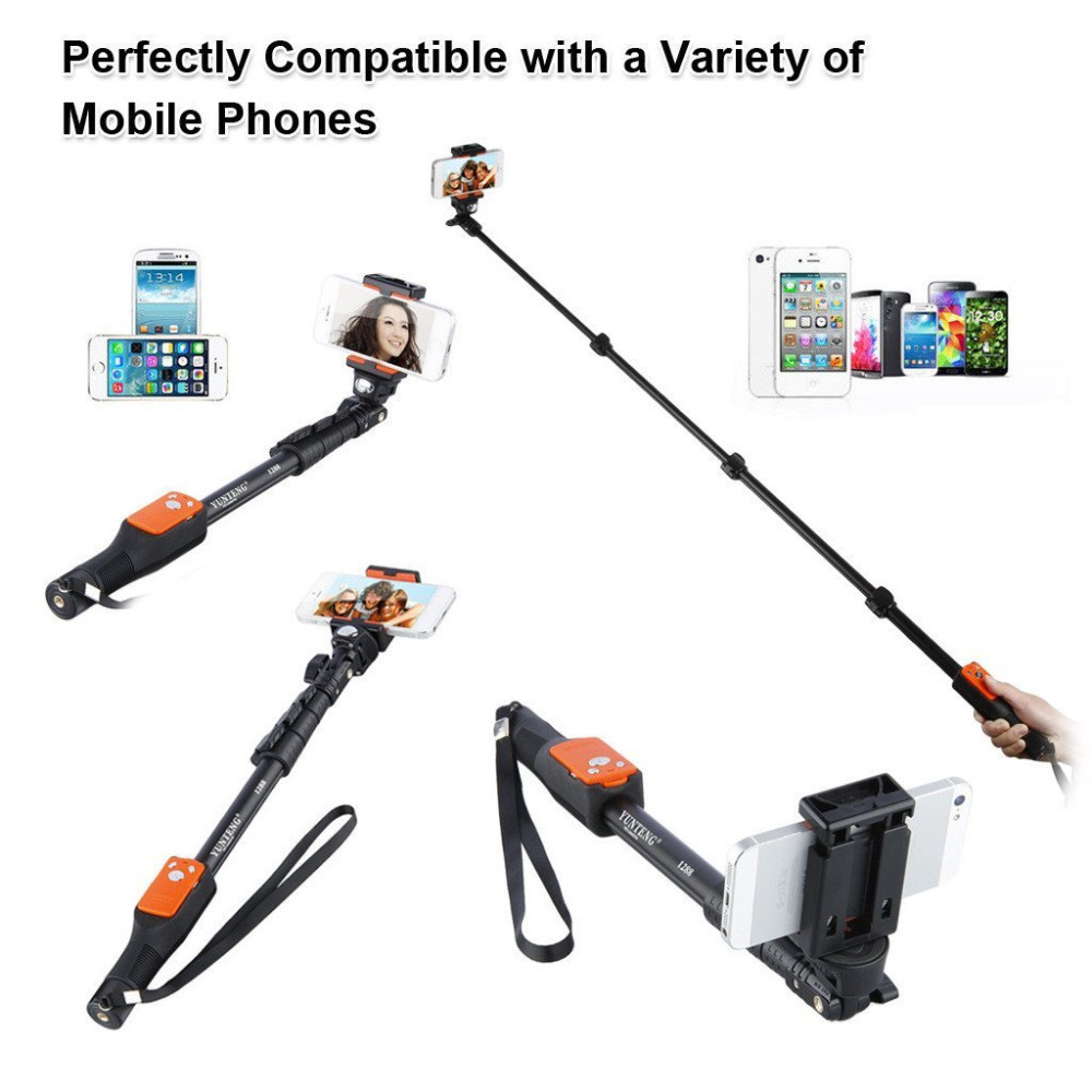 Original YunTeng 1288 Extendable ZOOM Selfie stick Bluetooth Handheld  zooming Monopod YT 1288 For android xiaomi yi iPhone-in Selfie Sticks from  Consumer ...