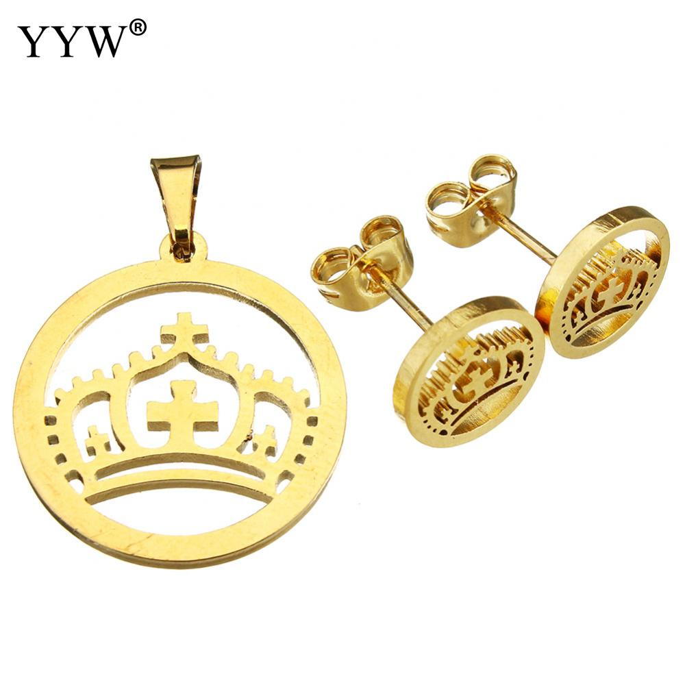 YYW Hot Selling Stainless Steel Jewelry Set Noble Crown Pendant And Earring Jewelry Sets Womens For Birthday/Festival Gifts