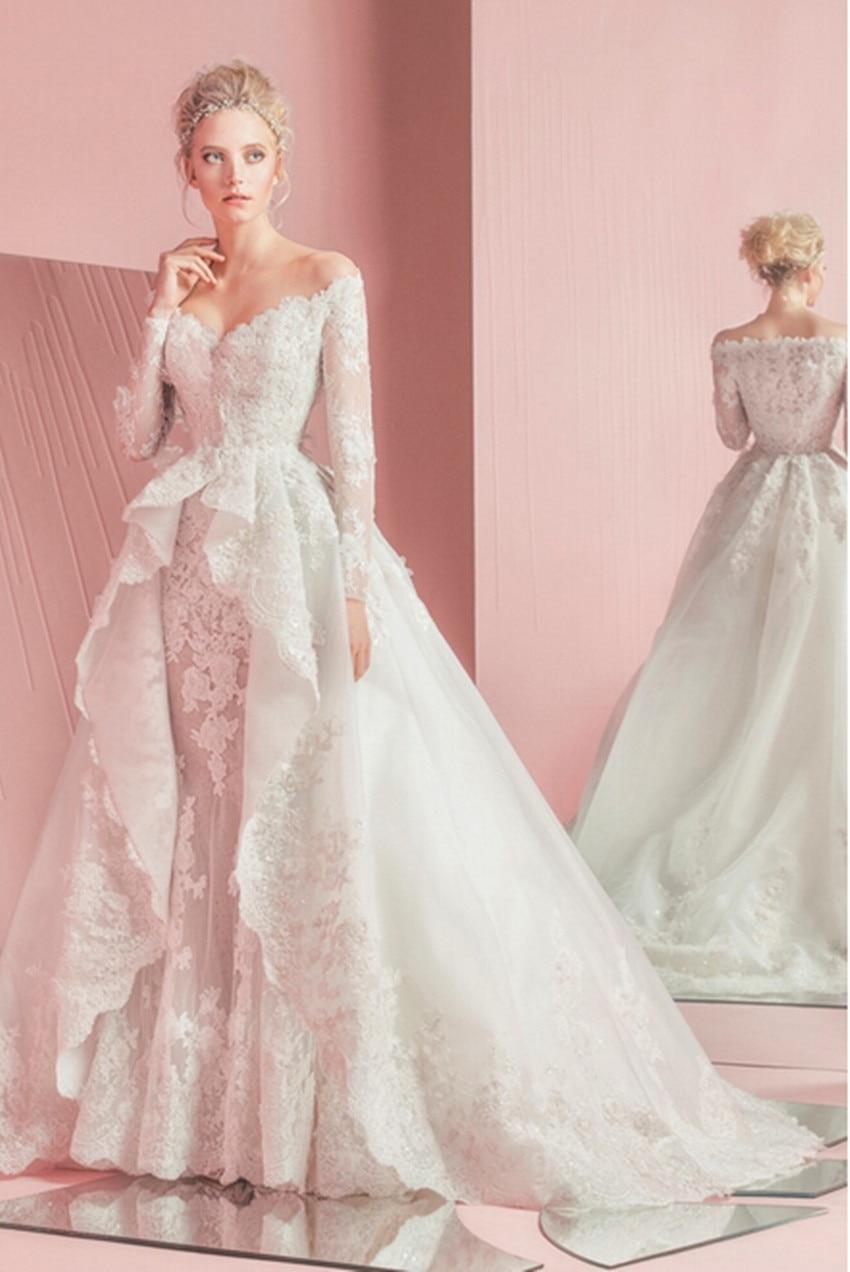 2018 Long Sleeve Lace Crystals Luxury Mariage Bridal Gown Vestido De Novia Casamento Mother Of The Bride Dresses