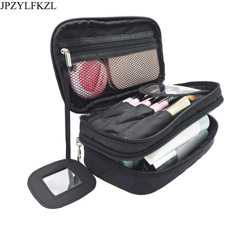 Double layer Nylon Ladys Cosmetic Bags Waterproof Make Up Tools Organizer Pouch Wash Toiletry Vanity Travel Case Box Accessorie