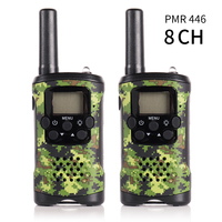 2 Pack JJ 220 8CH Two Way Radio Scanner PMR446 0.5W Handheld Mini Kids Walkie Talkie Monitor Backlight LCD screen VOX Camouflage