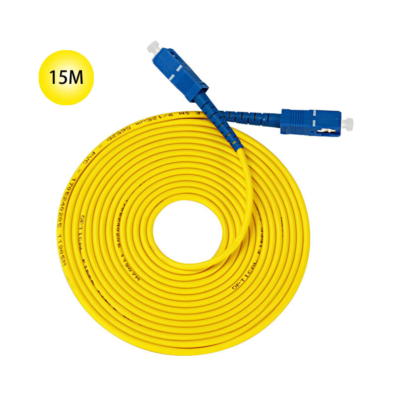 SC to SC Single-mode optical fiber patch cord 15M Jumper Cable Microns UPC Polish Yellow Jacket OFNR For Long Distances