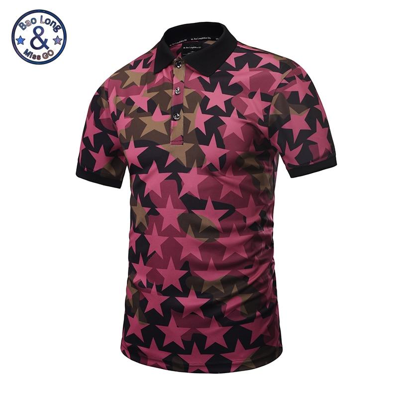 Mr. baolong camuflagem estrela de cinco pontas-designer de marca polo homens da camisa do estilo verão 2017 topos dos homens do sexo masculino m-3xl pt6