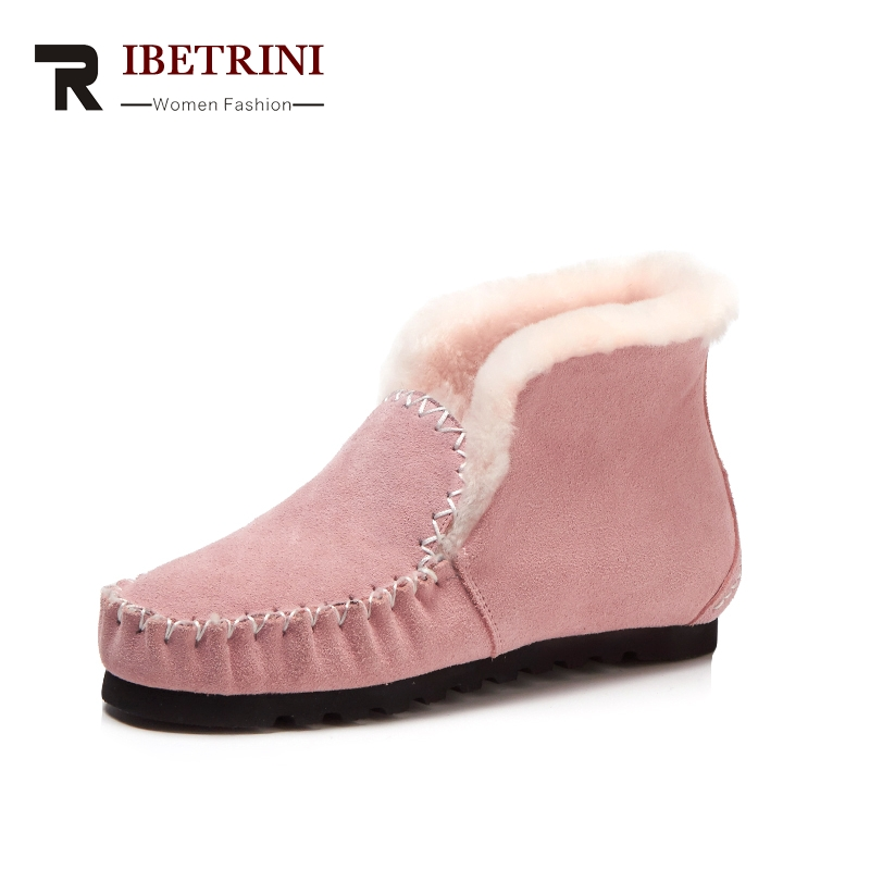 RIBETRINI 2017 Winter Fashion Cow Suede Shallow Platform Loafers Slip-On Warm Fur Sewing Pleated Women Shoes Large Size 33-42 ribetrini 2017 fashion cow suede turned over edge ankle snow boots sewing warm fur platform low flat women shoes size 34 39