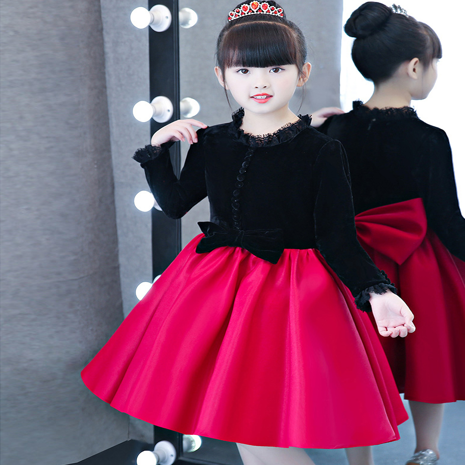 2017 New Fashion Popular Children Girls Princess Party Dress Beautiful  Bow Tie Decoration Kids Luxury Ball Gown Cloak Dress