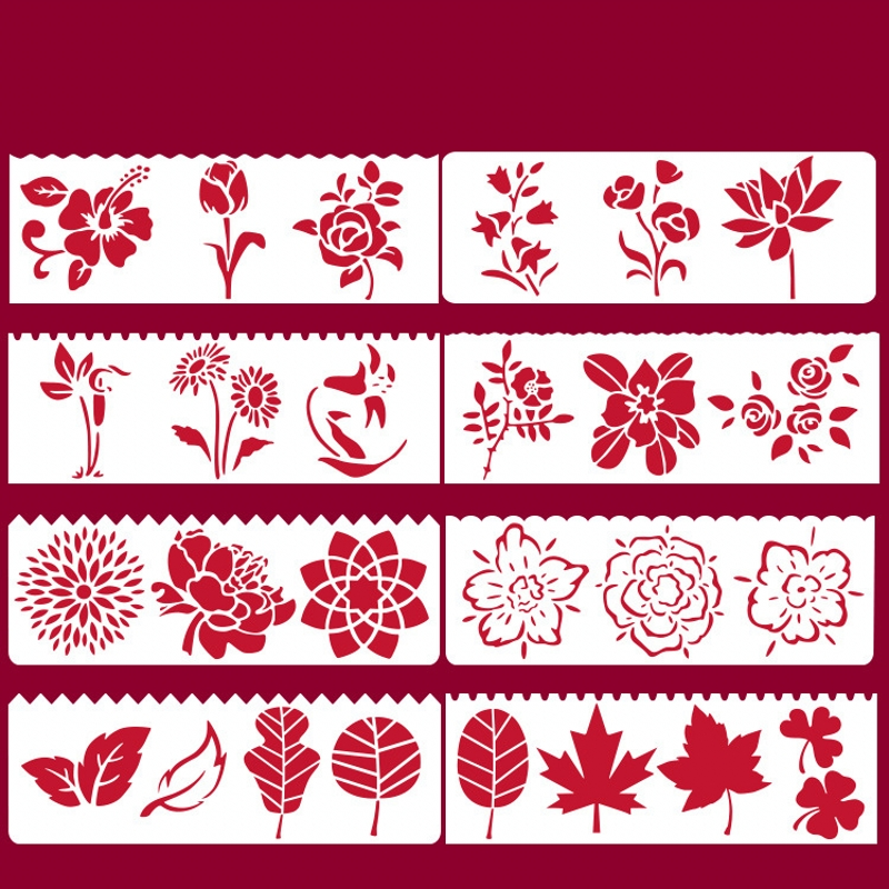 8Pcs 17*6cm Flowers Leaves DIY Layering Stencils Painting Scrapbook Coloring Embossing Album Decorative Card Template