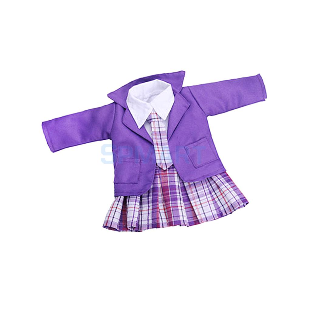 Cute Doll Purple 4 Pcs Student Clothing Outfit w/ Sticky Strap PU Leather Shoes Set for 18 American Girl Dolls Accessories