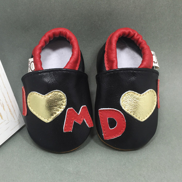 Genuine Leather Soft Soled Mixed Color Cartoon Printing Lovely Sewing Slip on  Newborn Baby Anti-slip Breathable First Walker