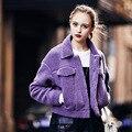 2016 новая мода Овечьей Шерсти Шубы Женщины Одной Кнопки С Длинным Рукавом шерстяное Пальто Женский Твердые Двойной Карманы Parka бесплатная доставка