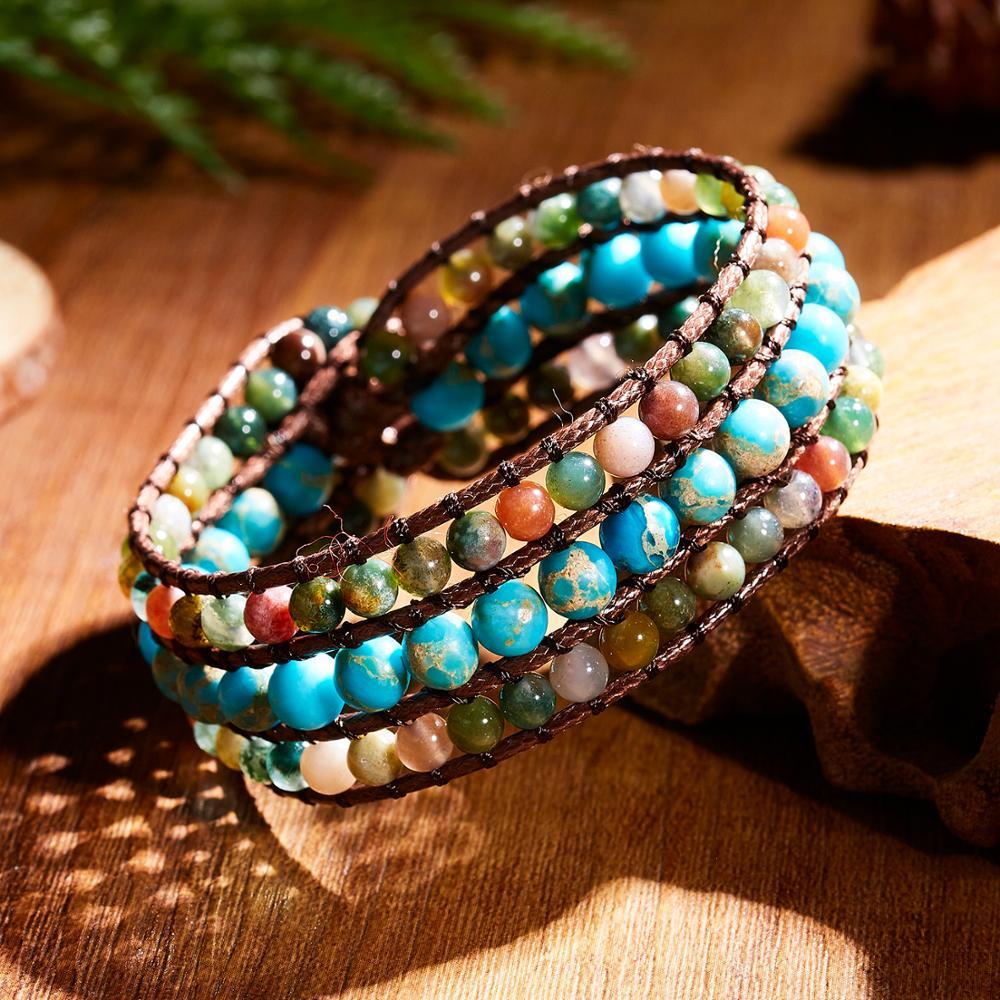Rinhoo 1PC Ethnic Beautiful Natural Stone Beads Leather