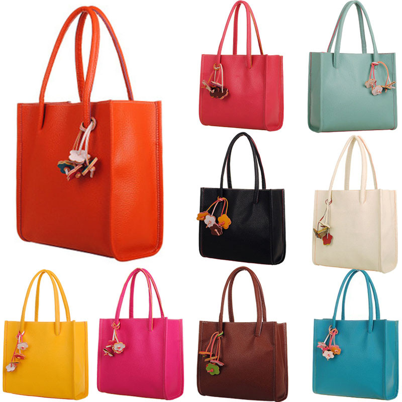 2019 New Fashion Elegant Girls Handbags Leather Shoulder Bag Candy Color Flowers Women Tote