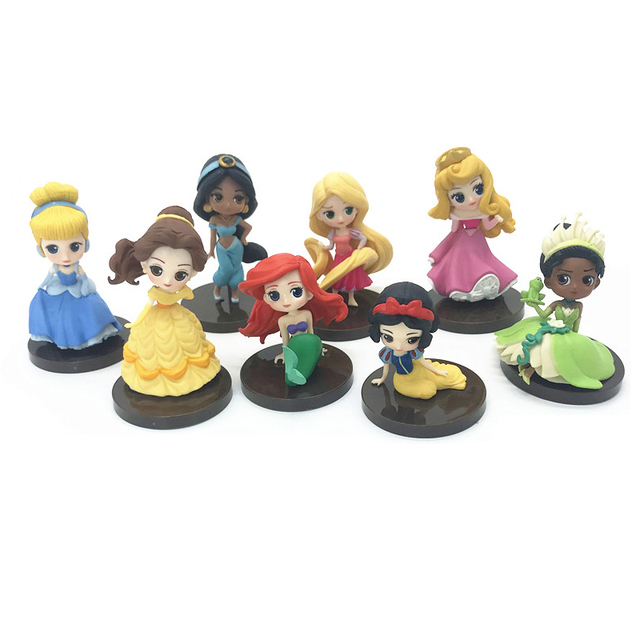 Disney Cinderella Belle Mermaid Ariel Sofia Snow White Fairy Rapunzel Action Figures  8 Pcs/set