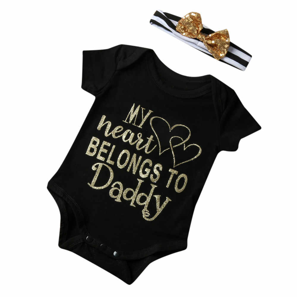 1e551650ef1 Fashion baby clothes Newborn Boy Girl Baby Letter Jumpsuit Romper Headband Outfits  Clothes Set my heart