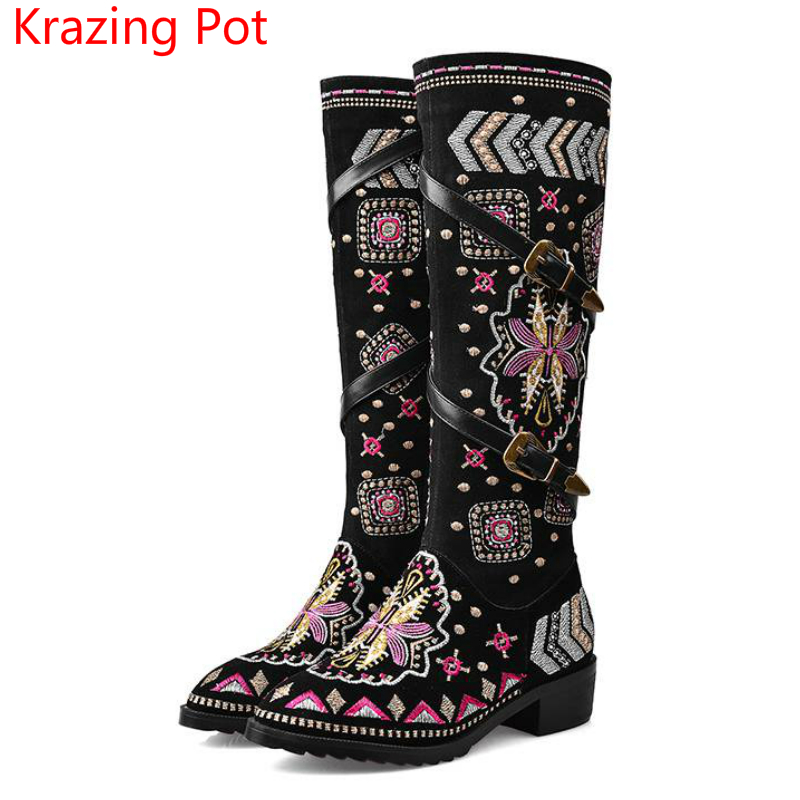 2017 fashion women brand shoes black flowers chinese style embroidery thigh high boots round toe med-heels over the knee boots L korean style different flowers and plant of 50 chinese embroidery handmade art design book