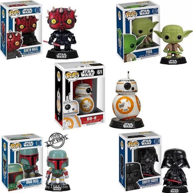 Funko POP BB-8 BB8 Derth Maul Darth Vader de Star Wars Yoda Boba Fett Shake Cabeça Bonito Figuras de Ação Presentes Dos Miúdos Brinquedo # FB