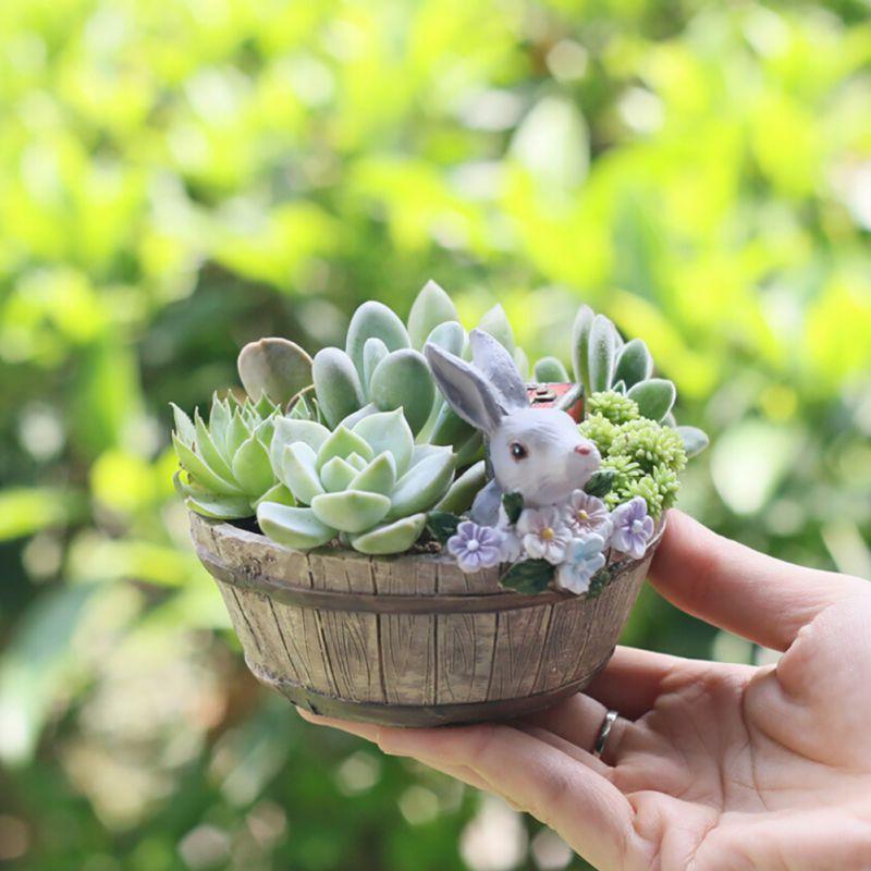 Creative Cartoon Rabbit Flowers Pot Resin Succulents Flower Pot Micro Landscape Combination Home Office Desk Decoration