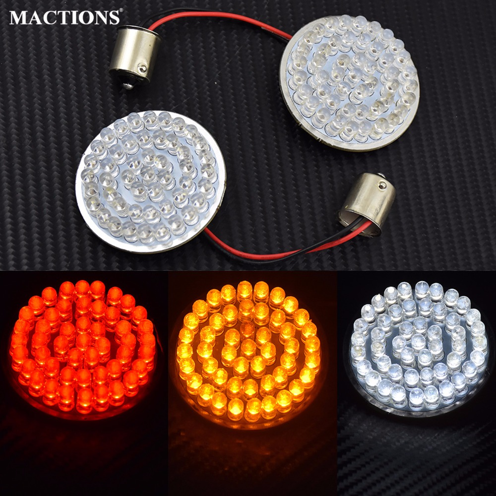 MACTIONS Motorcycle Turn Signal Indicator Light 1156 LED For Harley Sportster XL 883 1200 Iron SuperLow Softail Dyna Touring CVO