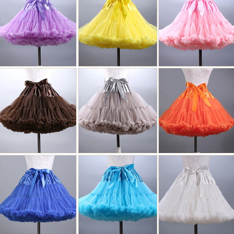 2016 Colored Mini Petticoat Short Puffy Tulle Skirt font b Women b font Girls Underskirt Rockabilly