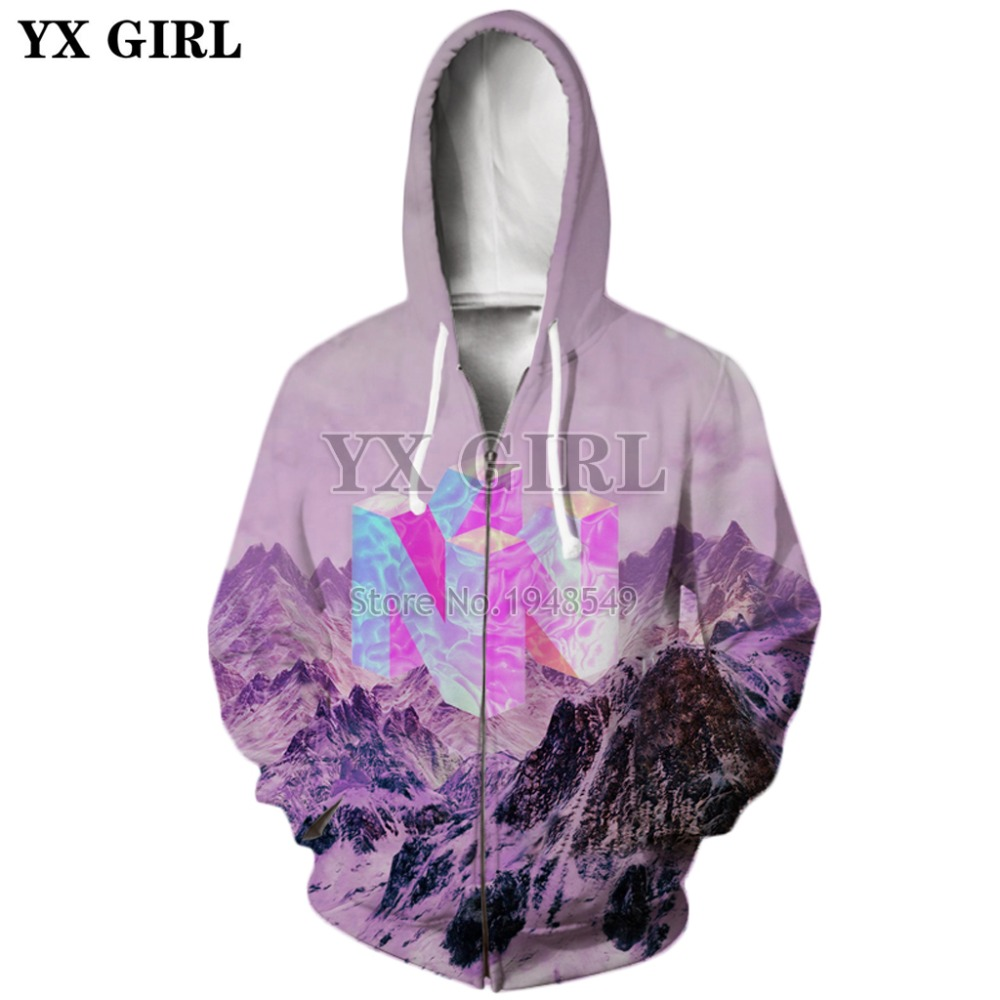 d5dd0a12 YX GIRL 2018 New Fashion Mens 3d sweatshirt Nintendo 64 Vaporwave Snowy  Mountain Collection Printed Crewneck Pullovers | JackMarbles