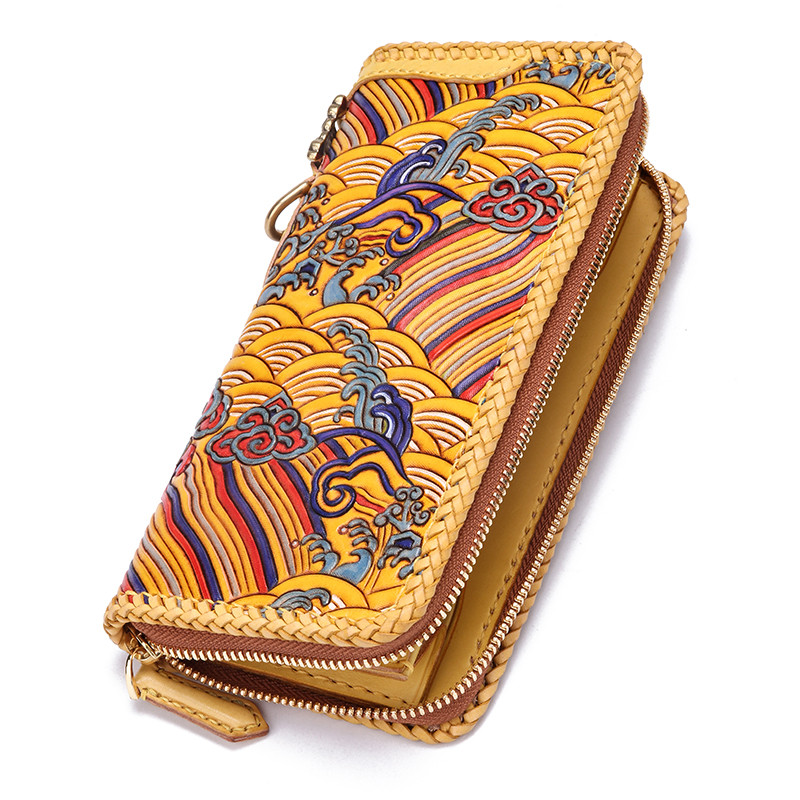 Handmade Genuine Leather Wave Wallets Carving Auspicious Clouds Bag Purses Women Men Long Clutch Vegetable Tanned Leather WallHandmade Genuine Leather Wave Wallets Carving Auspicious Clouds Bag Purses Women Men Long Clutch Vegetable Tanned Leather Wall