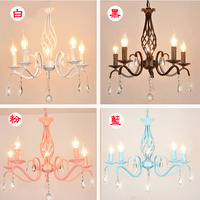 5 heads American droplight wrought iron candle girl Mediterranean creative crystal princess bedroom room pendant lights lamps