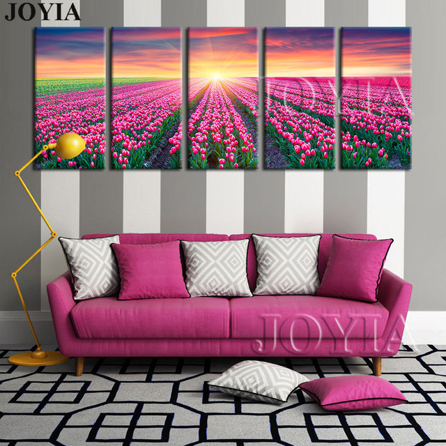 5 Piece ExtraLarge WALL PAINTING Flower Sunlight On Red Tulips ...