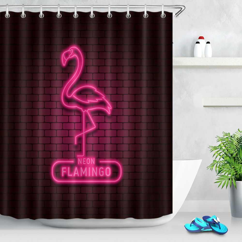 tropical neon led flamingo shower curtain waterproof polyester fabric bath curtain for the bathroom with 12pcs plastic hooks set