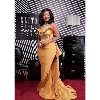 5c73cb71ec Amarillo vestidos de noche 2018 con bolsillos una línea de cuello en V  hombro corte islámica Dubai Saudi árabe largo elegante vestido de noche