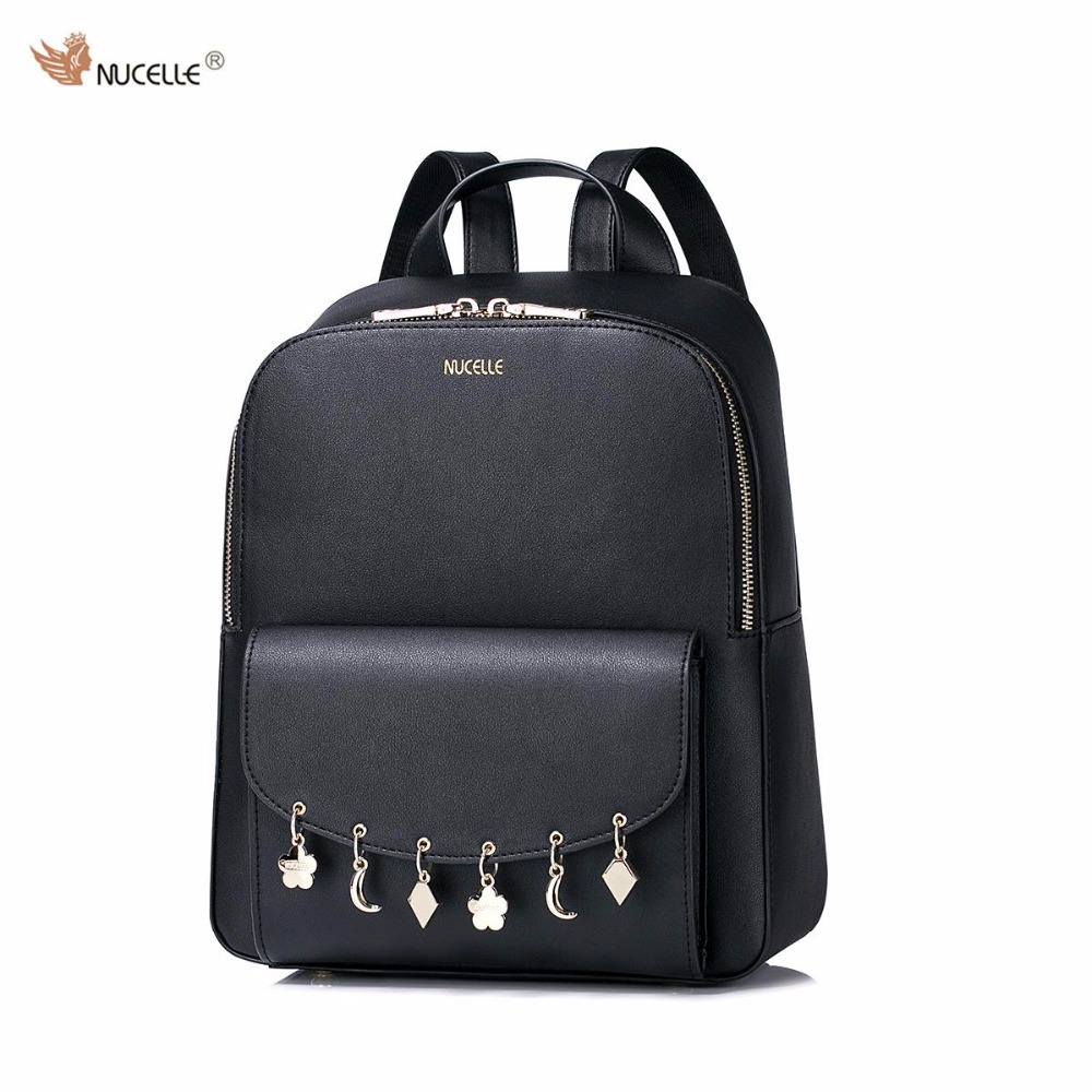 NUCELLE Brand New Design Fashion Tassel Hanging Drop PU Leather Casual Women Lady Backpacks School Shoulders Bag Girls