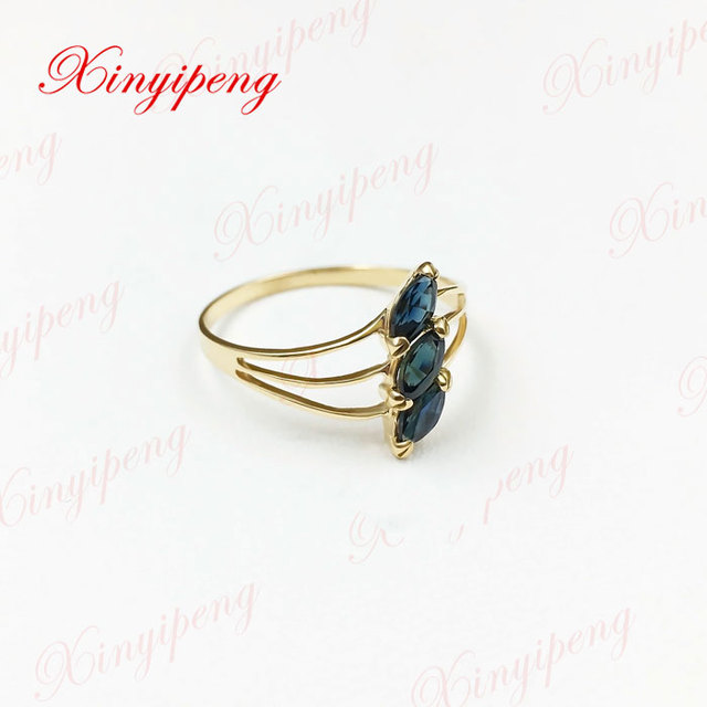 18 k gold inlaid natural sapphire ring 3