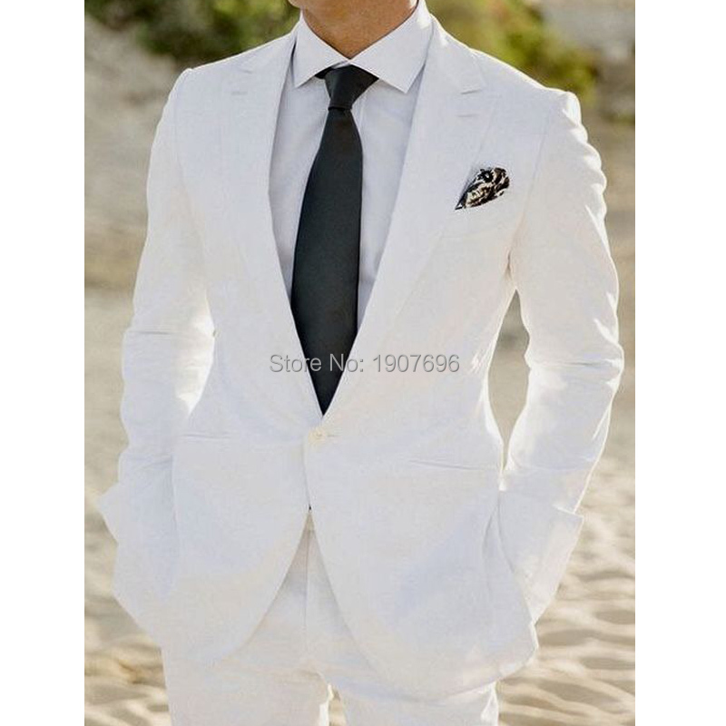 White Wedding Groom Tuxedos For Man Prom Party Slim Fit Men Suits Two Piece Set Jacket Pants Latest Style Clothes New Fahion