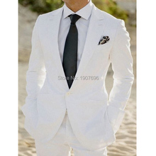 White Wedding Groom Tuxedos for Man Suit 2018 Two Piece Jacket Pants Latest Style Blazer Male Suits Tailor Made