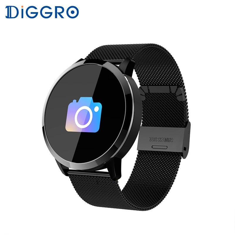 Diggro Q8 inteligente de 0,95 pulgadas reloj impermeable Fitness sangre oxígeno Monitor de ritmo cardíaco empuje información para Android iOS