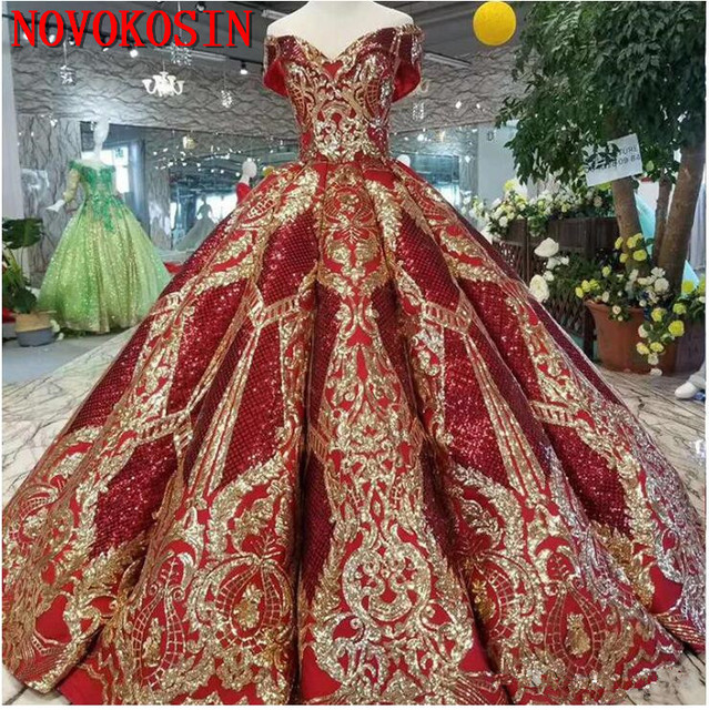 2019 Luxury Floor Length Queen Dress Red Satin Ball Gown Golden Sequin Lace Party Dresses Real Sample Quinceanera Dresses