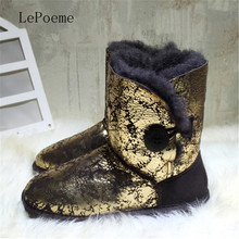 Genuine Leather Australia Boots 2016 Latest Winter High Quality Wool Snow Boots Fashion Golden Silvery U Brand Woman Boots