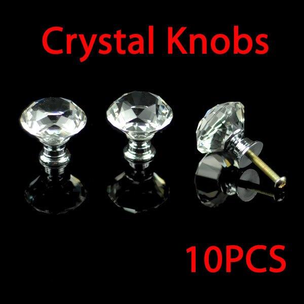 K9 Diamond Cabinet Crystal Knobs Door Handles Zinc Alloy base (clear Crystal diamond) 30mm 10pcs/lot