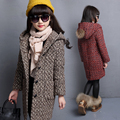 Маленькие девочки-подростки пальто красный серый коричневый шерстяные зимние куртки для девочек с капюшоном карманы с длинным рукавом куртки для детей одежда для девочек