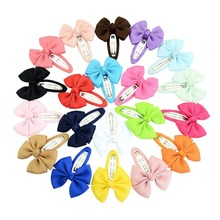 2PCS / candy color childrens tiara ribbed bow edging BB hair clip band headband accessories(Random Color)