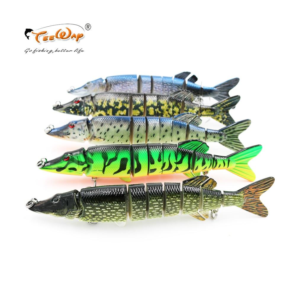 20cm 66g lifelike pique muskie isca de pesca 8-segement swimbait crankbait pesca duro isco agudos gancho pesca equipamento