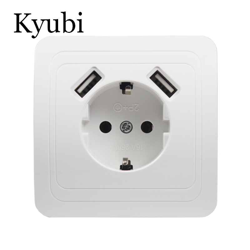 New USB Wall Socket For Phone Charge Free Shipping Double USB Port 5V 2A Usb Electrique Prise Usb Murale Steckdose B001