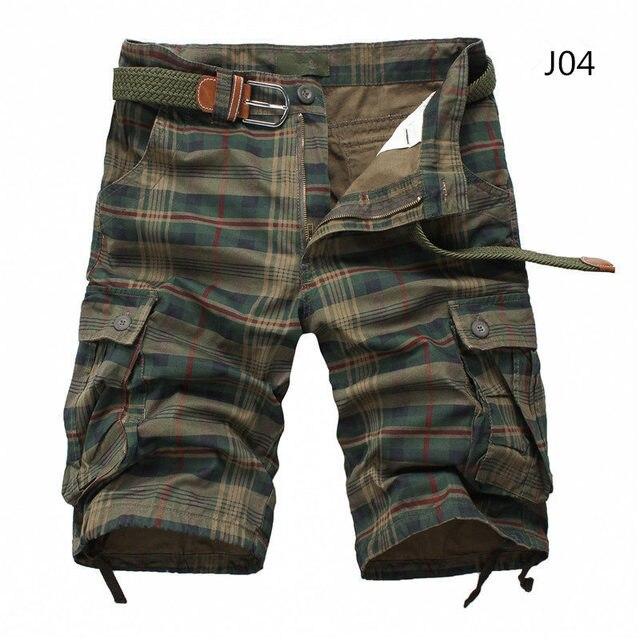 Pantalones cortos de hombre 2020 a la moda a cuadros, pantalones cortos de camuflaje informales para hombre, pantalones cortos militares para hombre, bermudas, monos Cargo