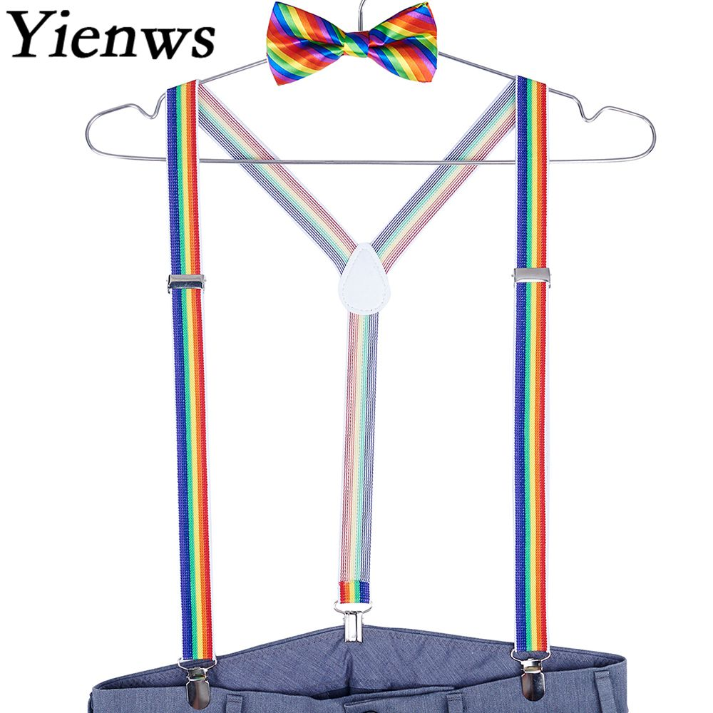 Yienws Mens Bow Tie And Suspenders 3 Clip Bowtie Braces Suspenders For Men Rainbow Bow Tie Braces Sets 2.5*100cm YiA076